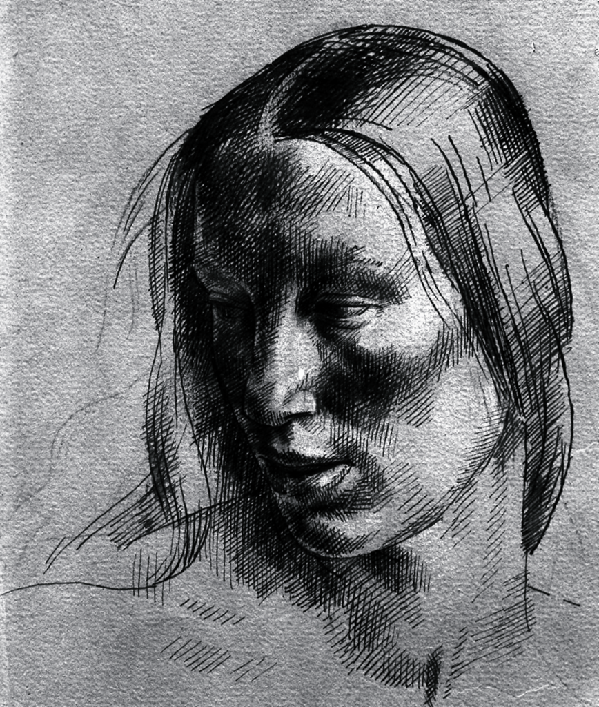 Monnington Collection, study for allegory woman's face 1 (BSR Fine Arts Archive)