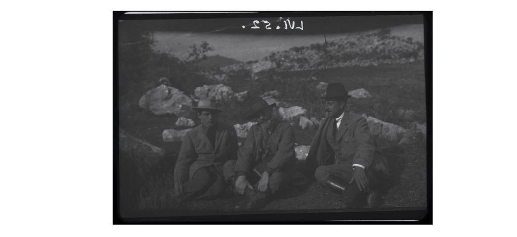 Anticoli Corrado, portrait of Colin Gill, Ducci and Helpes? sitting on the grass, 1920 (BSR Digital Collections, Thomas Ashby photographic collection, ta-LVI.052)
