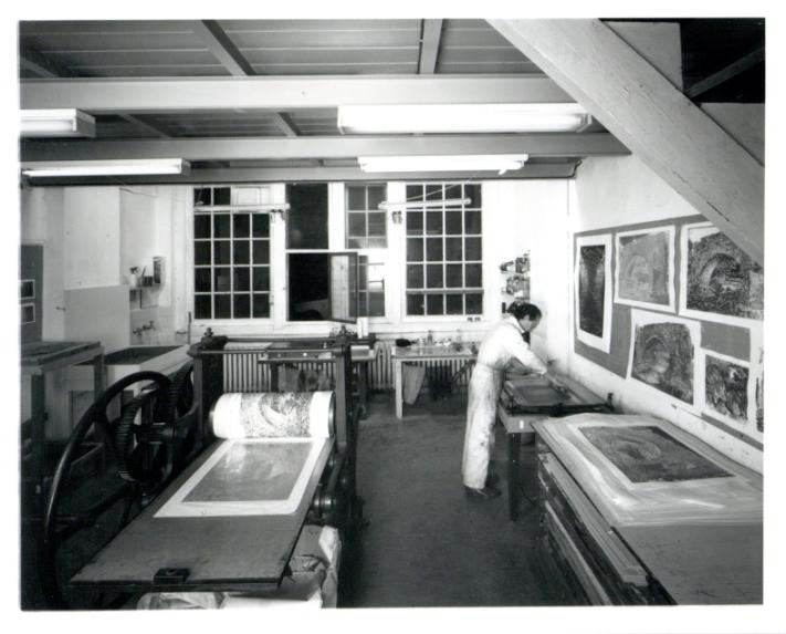 Paul Hawdon in BSR Print Making Studio 1989