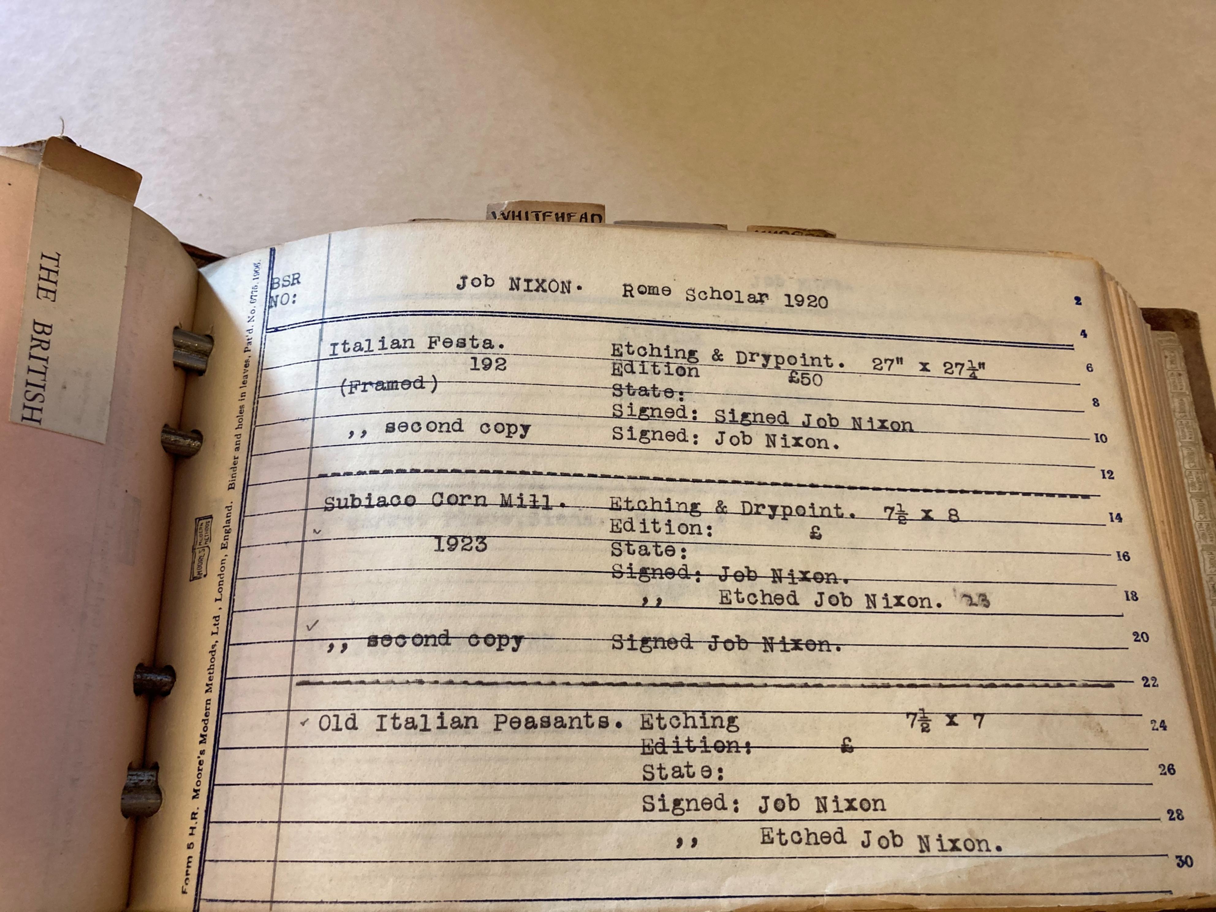 Job Nixon Collection, catalogue, 1920, BSR Fine Arts Archive