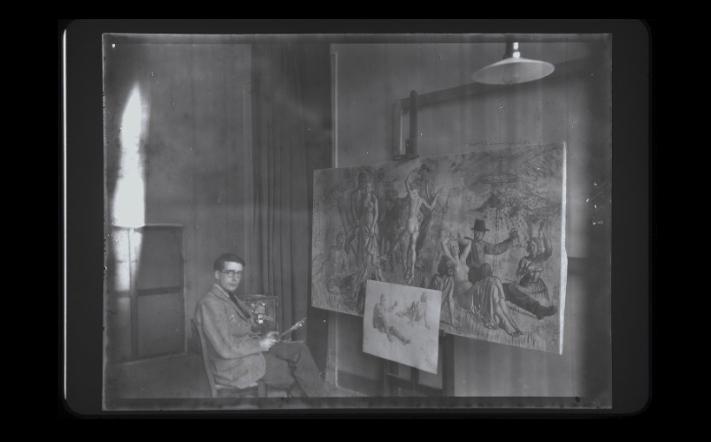 Colin Gill in his Studio at BSR c.1914 BSR Fine Arts Archive