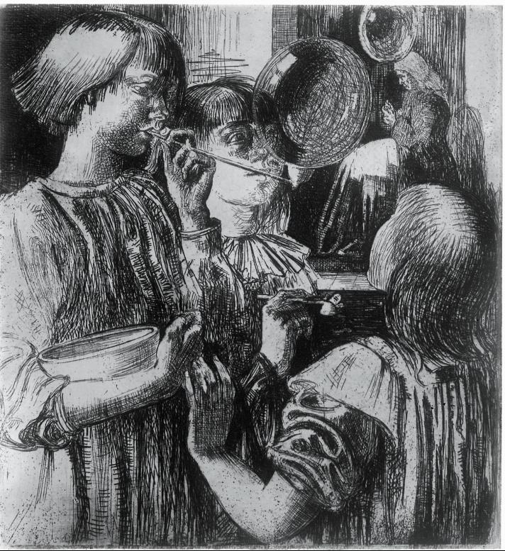 L Whitehead, Etching, The Soap-Bubble, circa 1923, BSR Fine Arts Archive