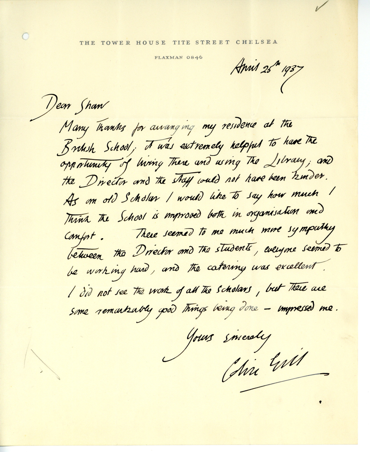 Colin Gill Collection, Letter from Gill to Shaw 1937, BSR Fine Arts ArchiveColin Gill Collection, Letter from Gill to Shaw 1937, BSR Fine Arts Archive