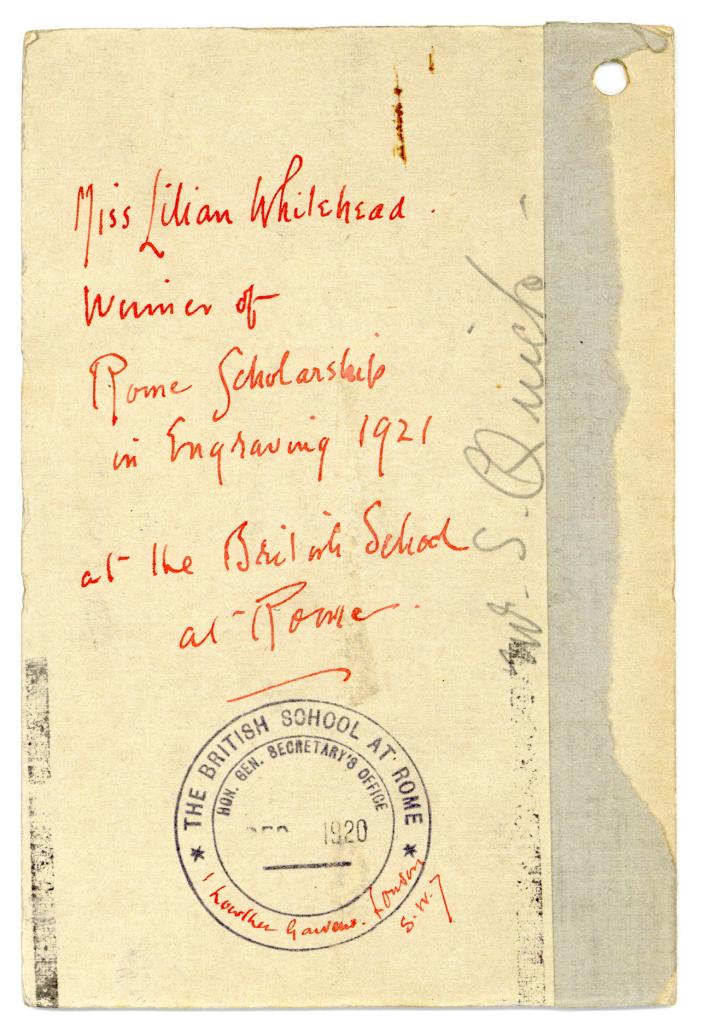 Lilian Whitehead's personal file, portrait photo, verso (BSR Fine Arts Archive)
