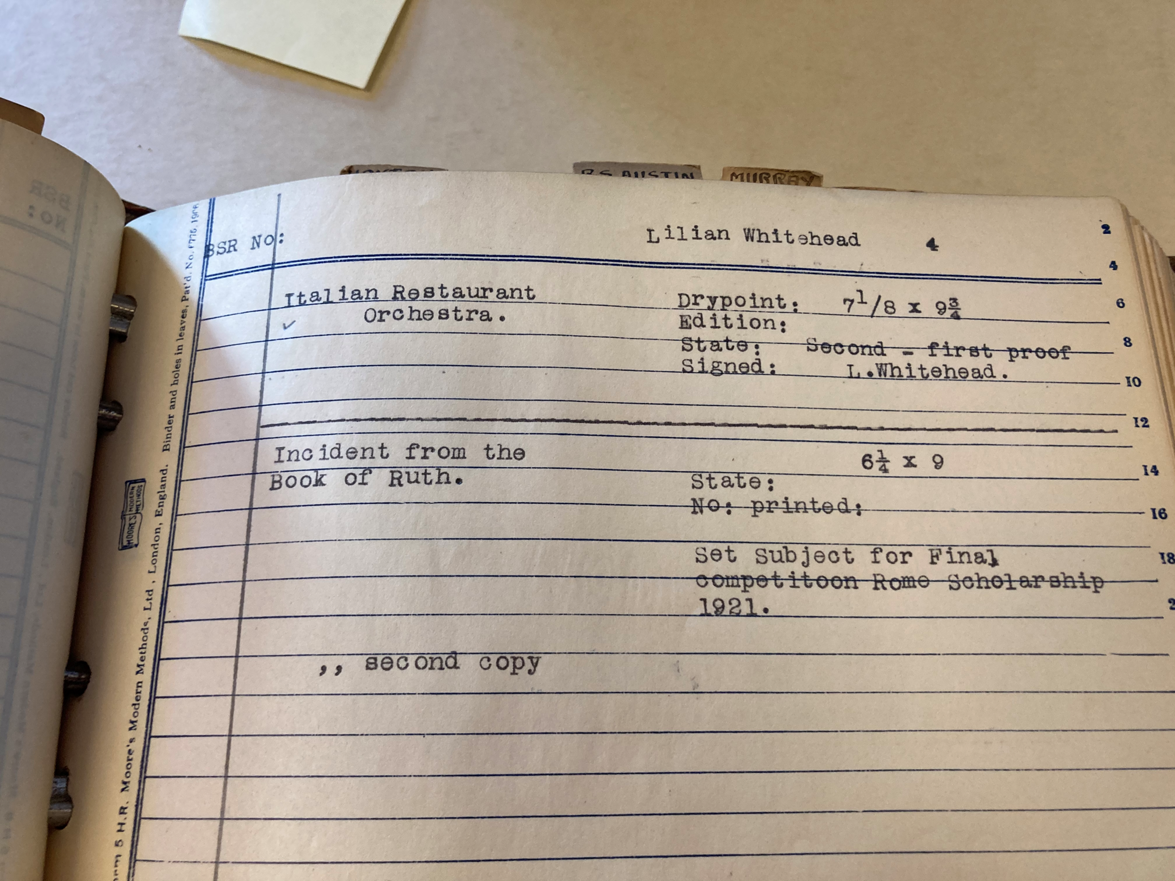 Lilian Whitehead Collection, catalogue 1921, BSR Fine Arts Archive